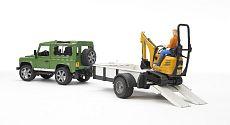Bruder 2593 Land Rover s přívěsem + mikrobagr JCB