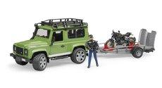 Bruder 2598 Land Rover s přívěsem, motocykl Ducati a řidič