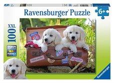 Ravensburger puzzle  Oddych štěňata v kufru 100 dílků