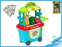 Mikro Trading Stánek ovoce/zelenina pojízdný 23x38x16cm s doplňky v krabičce