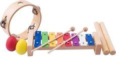 Woody Muzikální set xylofon, tamburína, dřívka, 2 maracas vajíčka